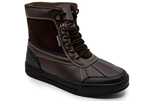 Nautica Mens Lockview Insulated Waterproof Snow Boot-Brown 1-12