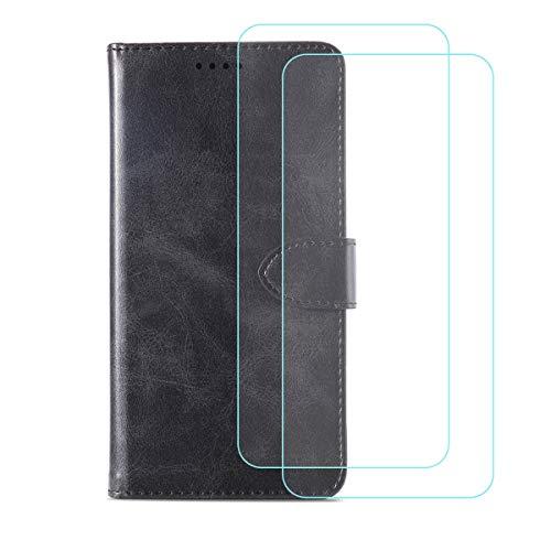 DQG Funda para Doogee S88 Pro (6.30'), [2 Tabletas Protector de Pantalla Vidrio Templado] + Leather Carcasa Tapa Bumper PU Caso Soporte Cartera Case Flip Cuero Wallet Cover para - Black