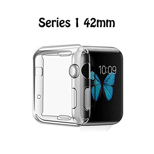 FINENIC Compatible for Apple Watch Series 1 42mm Screen Protector case Cover.TPU All-Around 0.3mm Ultra-Thin Cover Compatible for iwatch Series 1 42mm