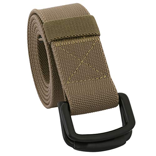Sportmusies Elastic Belts for Men, Military Style Stretch Webbing Tactical Duty Belt (Khaki,D-Ring Buckle)