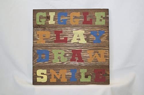Ced454sy Giggle spelen tekenen glimlach tekenen kinderen kamer Decor kleurrijke teken 14 x 14 inspirerende hout teken ruw teken