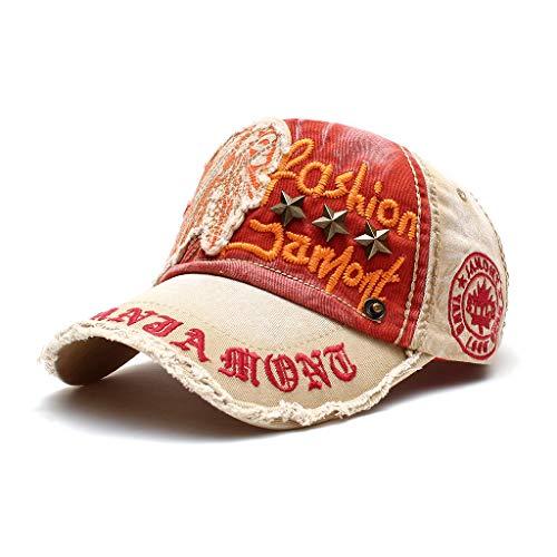 wopiaol Primavera y Verano, Sombreros para Damas Europeas y Americanas, Remaches Bordados a la Moda, Gorras de béisbol, Gorras Viejas Lavados Casuales