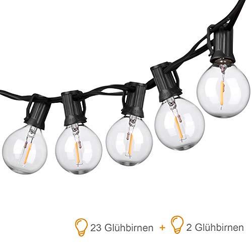 OUSFOT LED Lichterkette Außen G40 7,62m Lichterkette Glühbirnen 23 Birnen mit 2 Ersatzbirnen Wasserdicht für Weihnachten Party Hochzeit Dekoration Warmweiß