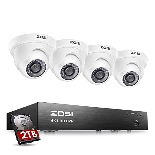 ZOSI 4K Ultra HD Home Security Camera System Outdoor Indoor, H.265+ 8 Channel CCTV DVR with 4 x 4K (8MP) Surveillance Dome Camera Weatherproof, 150ft Night Vision, 2TB Hard Drive, Remote Access