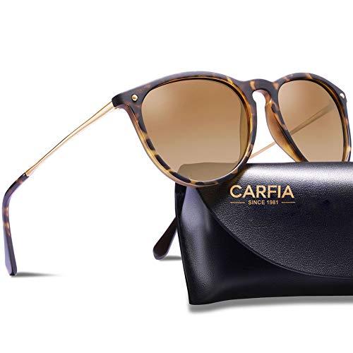 Carfia Gafas de sol polarizadas para mujer, protección UV400, para conducir, pesca, senderismo, deportivas, CA5100, unisex, adultos, color marrón