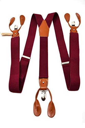 Oxford Collection Bretelle Rosso Bordeaux di alta qualità completamente Regolabili - 3 Clip o 6 Bottoni (personalizzabili)- Forma di Y - Classiche, Eleganti e Moderne