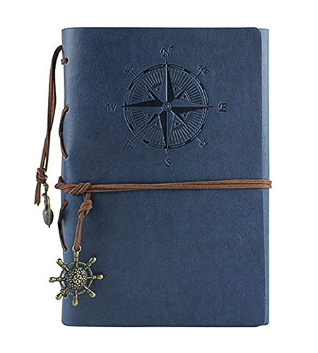 Leather Writing Journal Notebook, Vintage Nautical Spiral Notebook Refillable Diary Sketchbook Travel Journals to Write in with Blank Pages and Retro Pendants (Deep Blue)