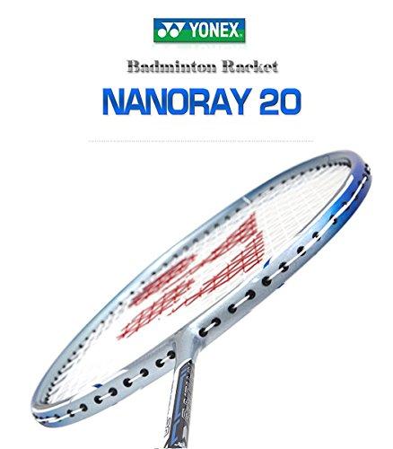 YONEX NANORAY 20 New Badminton Racket 2017 Racquet Silver/Blue 3U/G5 Pre-Strung with a Half-Length Cover (NR20-Silver/Blue)