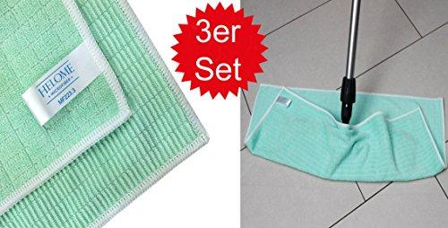 HELOME® 3X Bodentücher - Putzlappen für die schnelle Reinigung und Pflege von Fussböden (Laminat, Fliesen, Parkett) - Wischtücher mit glatter und Borstenseite