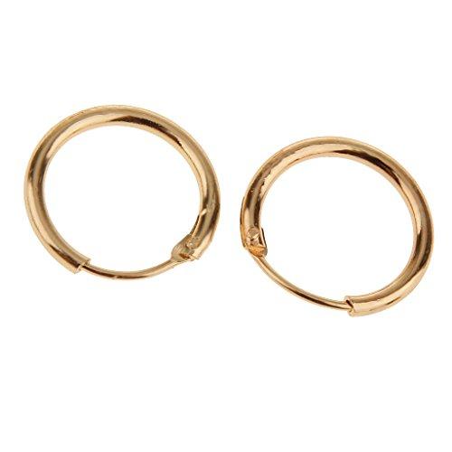 joyMerit 12 X 1,5 Mm Pendientes Durmientes con Bisagras Aros Pendientes de Cobre Oro