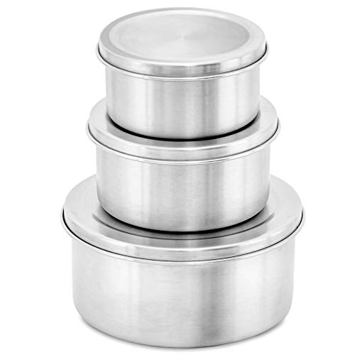 WeeSprout 18/8 Stainless Steel Food Storage Containers with S.S. Lids - Set of 3 Food Storage Containers (150 ml, 200 ml, 400 ml), Durable, Store Snacks, Lunches, Leftovers