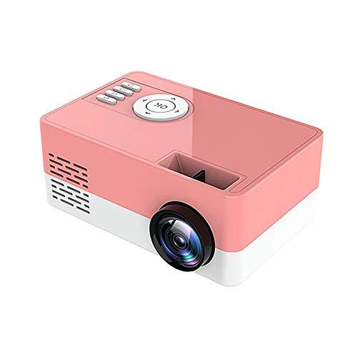 Gelentea - Proyector portátil HD 1080P con altavoz incorporado para ordenador portátil, escritorio, ordenador, el mejor regalo para cine en casa familiar, Rosa, EU