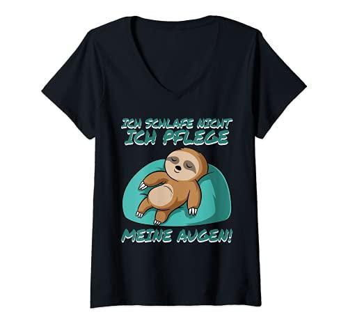 Mujer Ich schlafe nicht ich pflege mis ojos Schlafend Perezoso Camiseta Cuello V