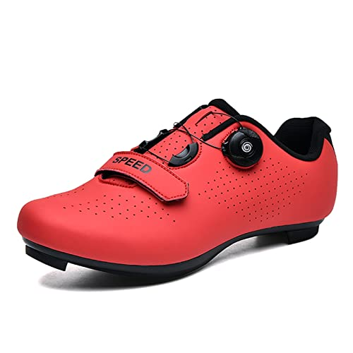 Tulent Scarpe da Ciclismo for Uomo Donne Scarpe rigide, Ciclismo, Bicicletta Senza Chiusura Non bloccate, Sport all' Aperto Attrezzature Traspirante (Color : Red, Size : 46)