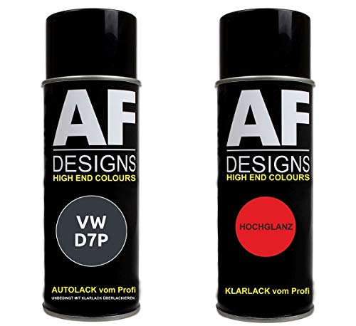 Alex Flittner Designs Autolack Spraydose Set geeignet für VW/Volkswagen Kryptongrau Metallic D7P LD7P Basislack Klarlack Sprühdose 400ml