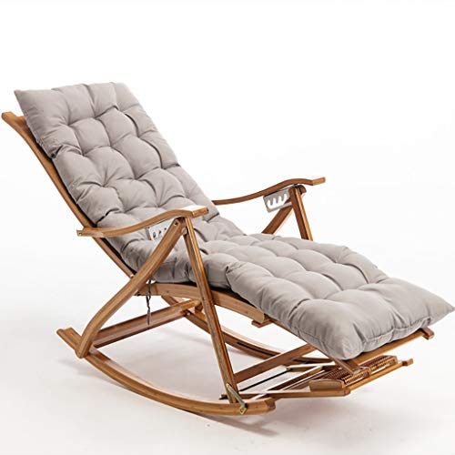 Recliner Outdoor Chair Bamboo Rocking Chair with Footrest, Armrest and Soft Cushion, Lounge Chair Used in Gardens, Swimming Pools Lawns