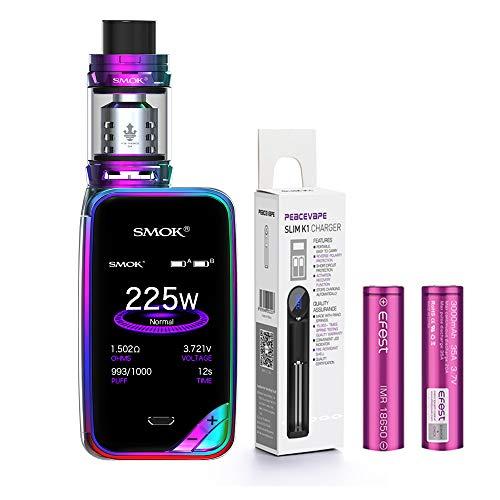 AUTÉNTICO SMOK X PRIV Kit 225W TFV12 PRINCE 2mL Tank Cigarrillo electrónico (Prisma Arcoiris) SMOK XPRIV con 2 X EFEST 3000 mAh Batería y cargador de 18650 batería PEACEVAPE™ Sin Tabaco - Sin Nicotina