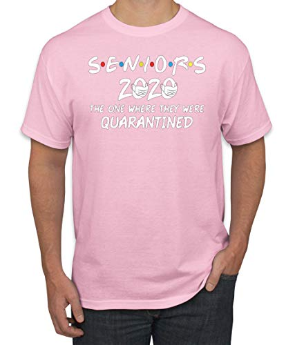 Seniors 2020 The One Where They were Quarantined Social Distancing Men's Graphic Tee, Orange, X-Large