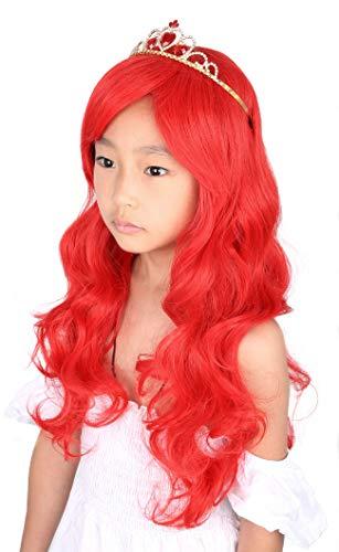 Topcosplay Ariel Wig for Kids Girls Child Wig Long Red Wavy Princess Halloween Costume Wigs