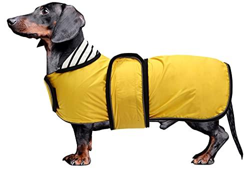 MOREZI Abrigo Impermeable para Perros con Hebilla de Velcro y Orificio para cordón, Adecuado para Perros Salchicha, sabuesos y Razas de Perros similares-Amarillo-XL