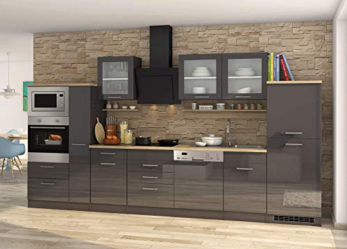 lifestyle4living Küche mit Elektrogeräten 370cm | Küchenzeile Küchenblock Einbauküche E-Geräte | Hochglanz Grau/Eiche Sonoma