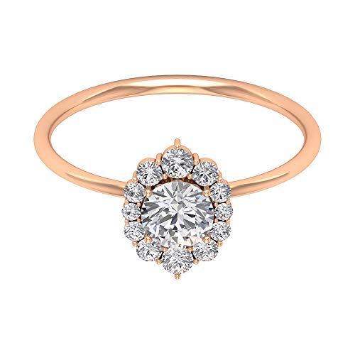 1/2 Ct Moissanite Solitaire Ring, Vintage Engagement Ring, Diamond Halo Ring, Solid Gold Wedding Ring, Bridal Statement Ring, Cocktail Partywear Ring, 18K Rose Gold, Size:UK W