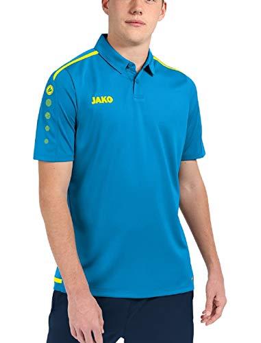 JAKO Polo pour Homme, Taille XL, Bleu Jaune Fluo