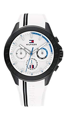 Tommy Hilfiger Herren Analog Quarz Uhr mit Silicone Armband 1791862