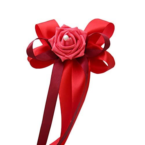 Kentop - Lazos para decoración de coche de boda, con lazos de rosas, para espejo retrovisor, color rojo
