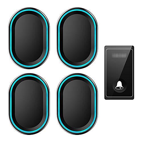 Waterdichte draadloze deurbel op afstand, 1 knopzender en 4 plug-in ontvangers met 58 geluidssignalen, volume op 4 niveaus en LED-verlichting,Black