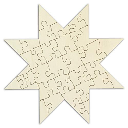 Kopierladen Holzpuzzle in Sternform blanko zum selbst gestalten und bemalen, 32 Teile, ca. 23 x 23 cm, leeres Puzzle Stern aus unbehandeltem Holz