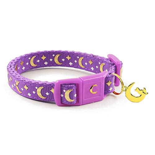 waaag Pet Collar Gold Moons and Stars Cat Collar, Safety Breakaway Cat Collar, Glow in The Dark (Standard 9'-15' Neck, Lavender)