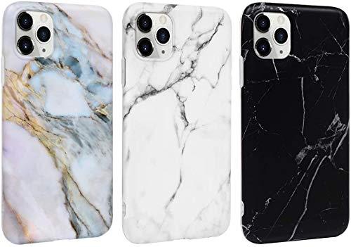 MUSESHOP Carcasa para iPhone 11 Funda Mármol, Carcasa Silicona TPU Flexible Suave Ultra Delgado Mate Case de IMD Marble para iPhone 11 6.1 Inch - [3 Unidades] Negro, Gris Blanco, Gris púrpura