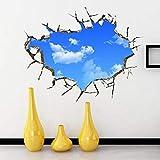 9302sonoaud Wall Stick Hotel Techo 3D Etiqueta de la pared Dormitorio Sala de estar Cielo azul Nubes blancas Pegatinas de pared - Azul 50cm por 70cm