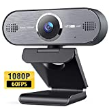 1080P 60FPS Webcam,HD USB Web Camera Streaming Webcam,Built-in Dual Noise Reduction Mics,Autofocus Webcam for Widescreen Video Calling and Recording