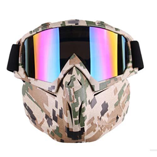 HBRT Motorradbrille Maske abnehmbare Mann kühle Sicherheit schützen Outdoor-Taktische Brille décor Sonnenbrillen-Helm Offroad Reiten Radfahren Skifahren Schneemobil,Camouflage