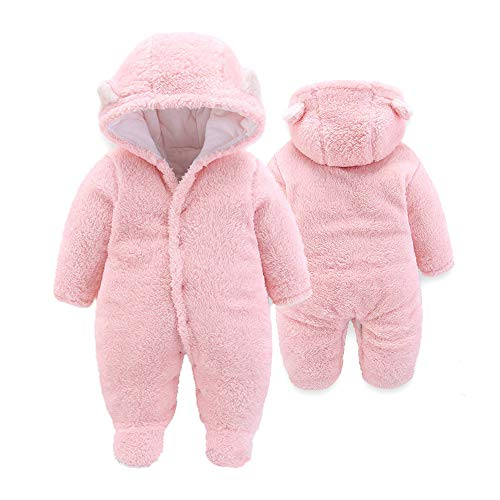 XMWEALTHY Baby Cloth Winter Coats Unisex Newborn Cute Jumpsuit Romper Coats Outfits Pink S