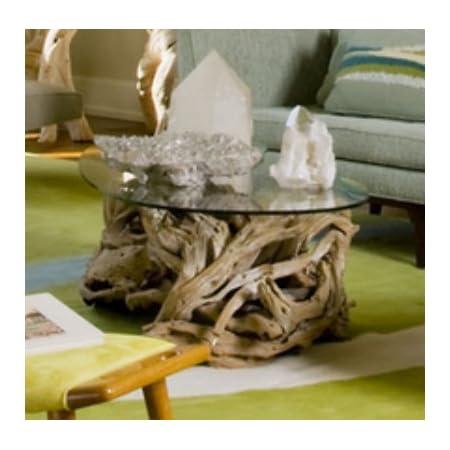 Amazon Com Intelligent Design Coastal Teak Driftwood Coffee Table Ocean Beach Glass Top Furniture Decor