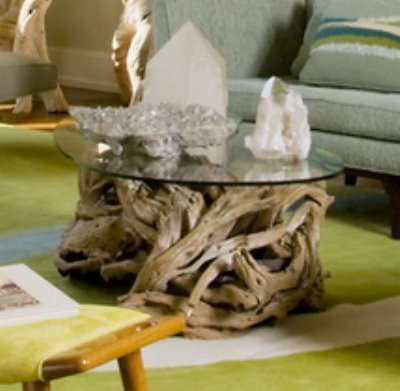 Intelligent Design Coastal Teak Driftwood Coffee Table | Ocean Beach Glass Top