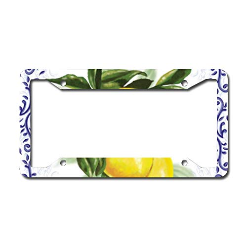 onepicebest License Plate Frame, Toile Lemons Plate Covers,Standard US Plates, Rust-Proof, Rattle-Proof, Weather-Proof