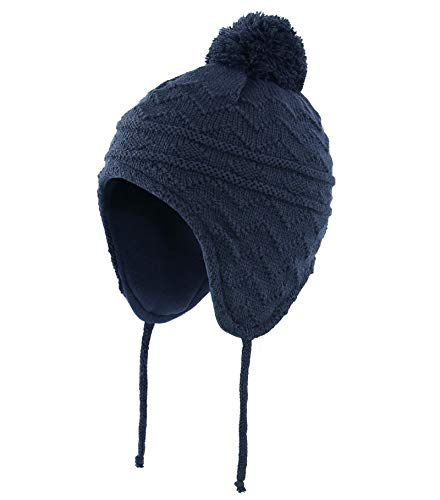 """Connectyle Toddler Boys Girls Fleece Lined Knit Kids Hat with Earflap Winter Hat (Navy, M:1T-3T(18.5""""-19.7""""))"""