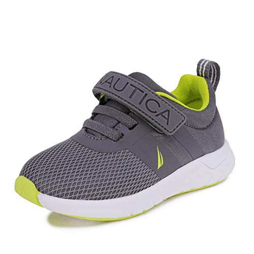 Nautica Kids Boys Fashion Sneaker Athletic Running Shoe with Stap for Toddler and Little Kids-Towhee 2 Saga-Storm Grey Lime-11
