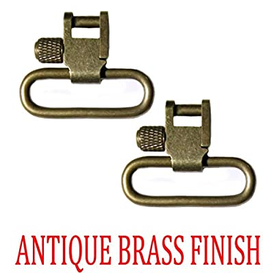 Detroit Leather Shop Pair of Antique Brass Finish 1.25 Inch Tri-Lock Rifle Sling Swivels