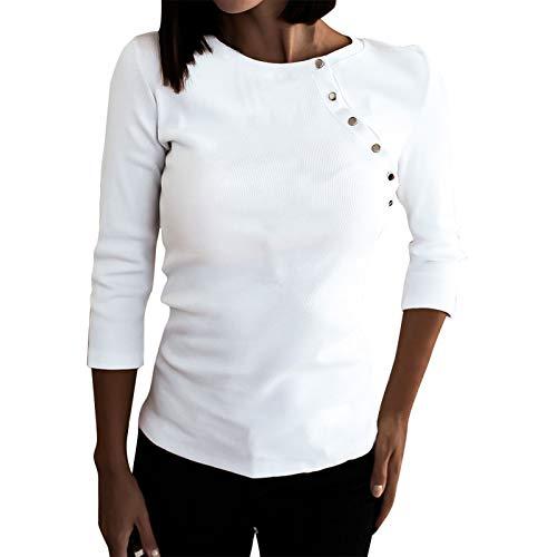 Sudadera de mujer de tamaño grande, de un solo color, con botones, blusa, camisa, suave, cómoda, cuello redondo, ajustada, básica, de algodón, para otoño hasta primavera, Blanco, L