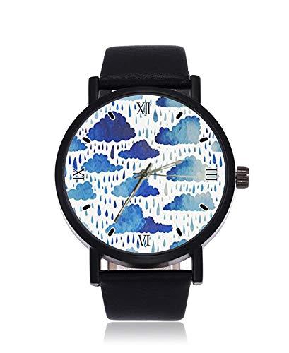 Watercolor Rain Drops - Reloj de Pulsera para Hombre y Mujer, diseño de Gotas de Lluvia, Color Azul, Resistente al Agua, Unisex