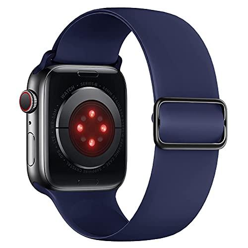 Tasikar Compatible con Correa Apple Watch 40mm 38mm, Pulseras de Repuesto de Silicona Suave, Correas Deportiva Elástica Ajustable Compatible con Apple Watch SE Series 6 5 4 3 2 1 (Azul Medianoche)