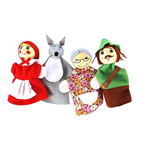 4PCS/Set Little Red Riding Hood Christmas Animal Finger Puppet Toy Storytelling Doll Cartoon Finger Puppets for Kids Cute Velvet Soft Animal Finger Puppets Holiday Gift