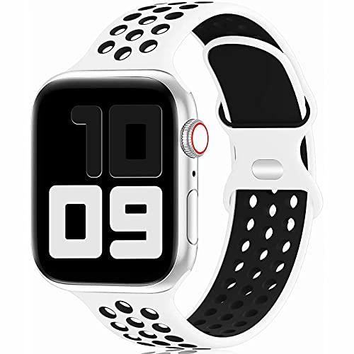Fengyiyuda Reemplazo Deportivo de Silicona Compatible con Correa Apple Watch 42mm 44mm 45mm,Pulsera Suave y Transpirable para iWatch Series 6/5/4/3/2/1/SE/7,White&Black-42/44/45mm-L
