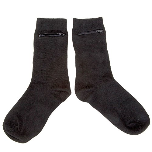 Black Dress Socks With Hidden Zipper Pocket-Cotton/Spandex Fits Men Sizes 7-12 2-pairs
