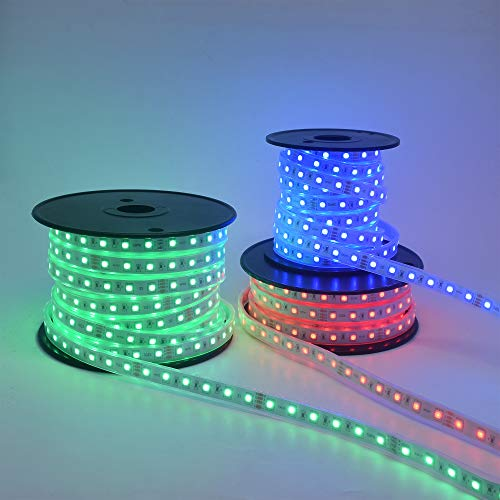 120Ft Long Run 24V RGB LED Strip Light Multi-Color Changing Crown Molding Accent Light Outdoor Waterproof Patio Deck Railing Rope Light Kit incl RF Touch Remote Controller and Power Supply 5
